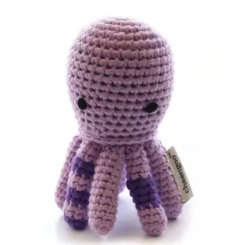 Organic Octopus Hand Crocheted Rattle