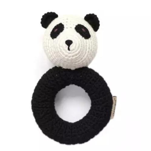 Organic Panda Ring Hand Crocheted Rattle
