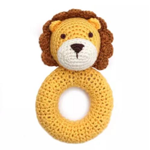 Organic Lion Ring Hand Crocheted Rattle