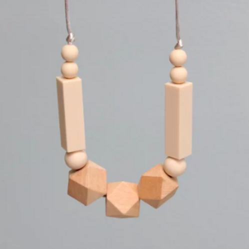 Teething Necklace - Silicone + Wood - Grace in Cream