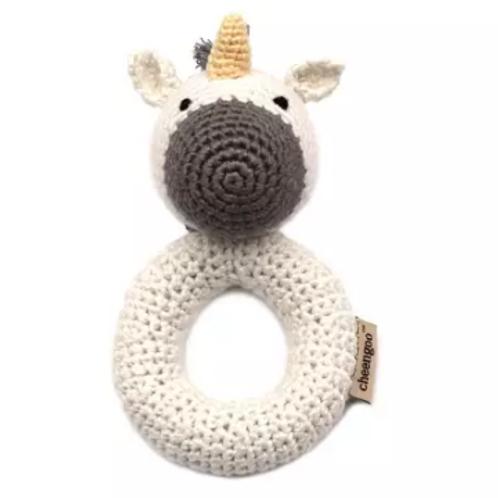 Organic Unicorn Ring Hand Crocheted Rattle