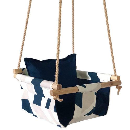 Navy Geometric Baby Swing