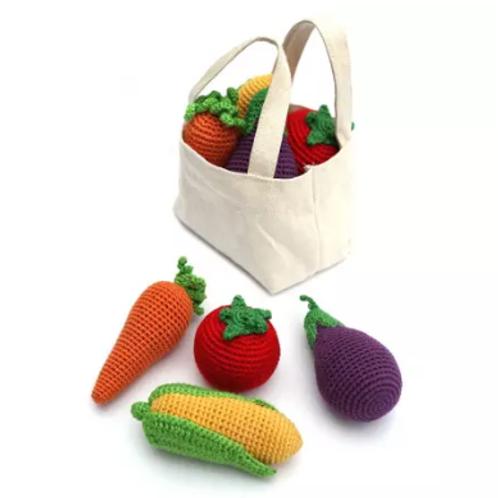 Organic Crocheted Veggies Rattle - Set of 4