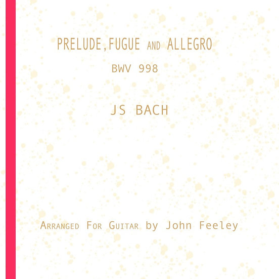 J.S. Bach: Prelude, Fugue & Allegro. 13 pages, with fingering.