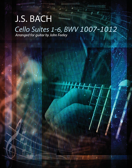 Bach's 6 Cello Suites - 100 Pages, with fingering. Solo Guitar.