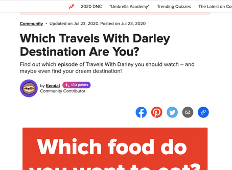 "Fun ""Travels with Darley"" Quiz on Buzzfeed"