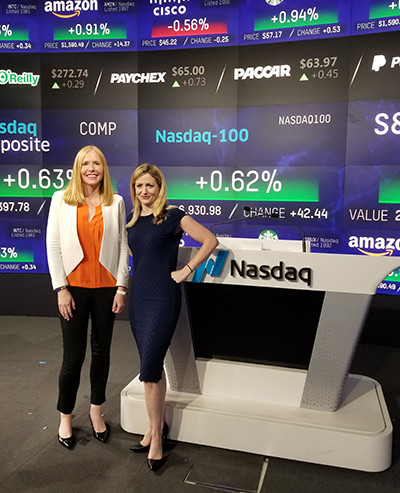 Darley with Sabrina Quagliozzi at Nasdaq Times Square