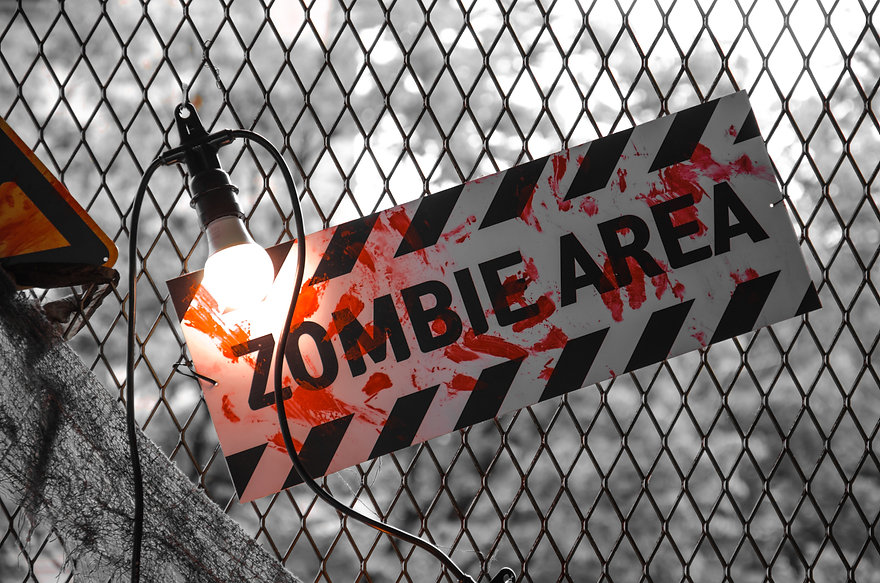 Zombie Area nameplate with bloody prints
