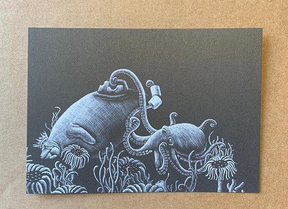 Tocha Illustration mit Schabkarton gezeichnet/ geschabt.