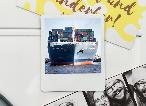 "Magnet ""Containerschiff Elbe"" in Polaroid-Optik (3 Stk. für 12€"