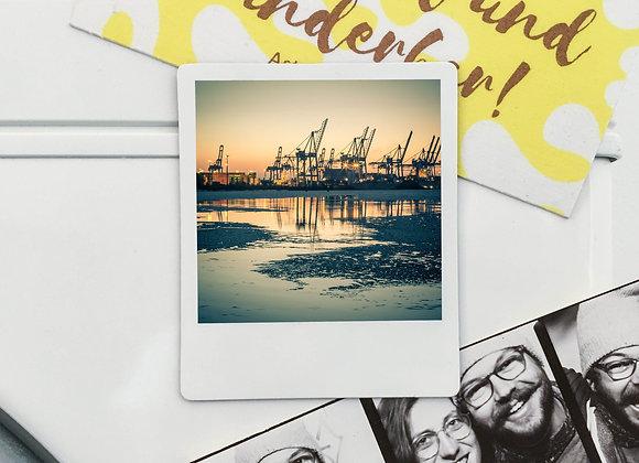 """Magnet """"Hamburger Hafen Elbe Kräne"""" in Polaroid-Optik (3 Stk. für 12€"""