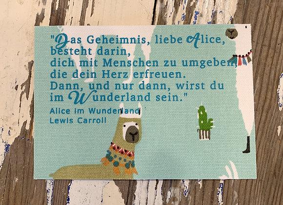 jackymatus DESIGN Stoffpostkarte Siebdruck Alice