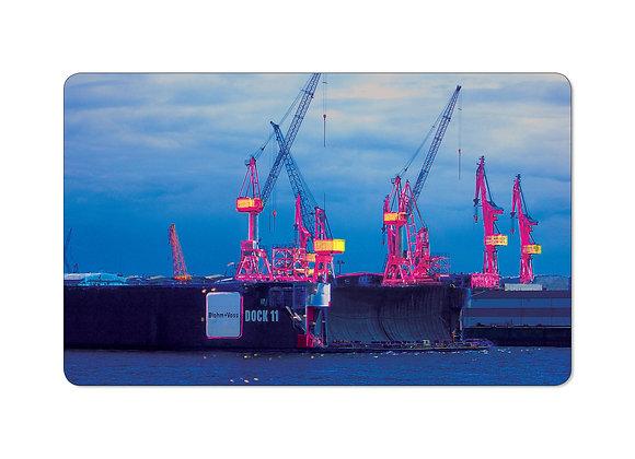 elbbote Frühstücksbrettchen Hamburger Hafen Dock
