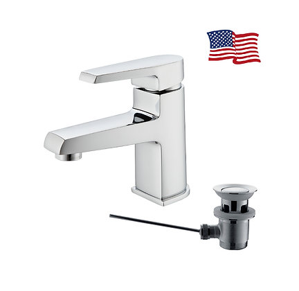 Leo basin mixer with pop-up waste