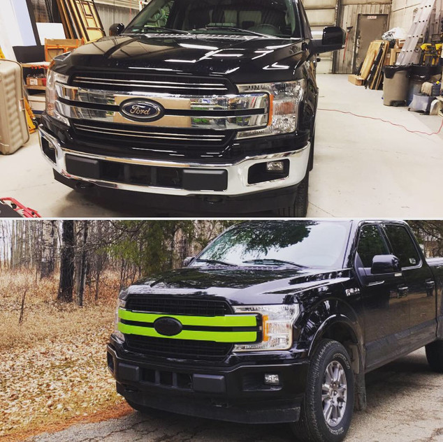 Grill and Bumper Blackout Wrap and Green Striping