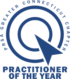 Practitioner of the Year Logo PRSA Blue.