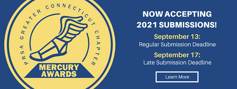 Now accepting 2021 submissions for the PRSA CT Mercury Awards