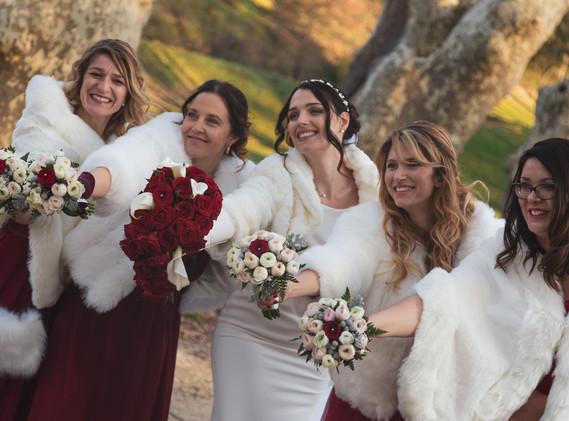 Bouquets d'hiver de témoins de mariage