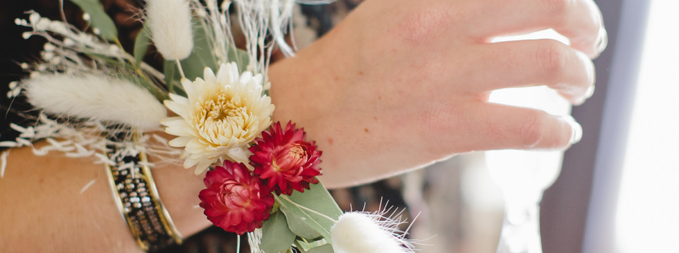 Bracelet fleurs séchées demoiselle d'honneur