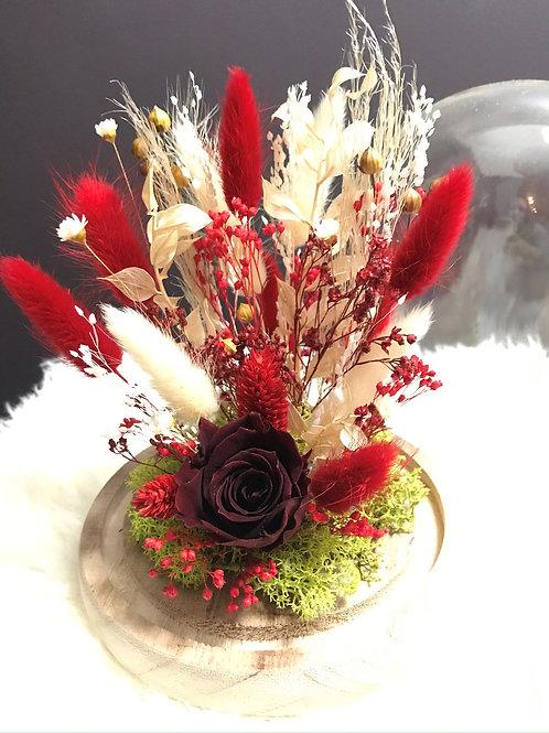 Cloche Fleurs séchées rouge