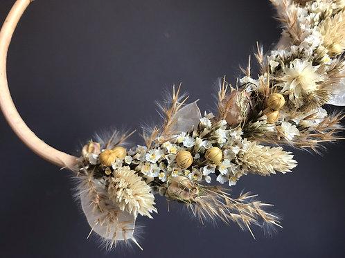 Ondine - Suspension de fleurs séchées naturelle en rotin