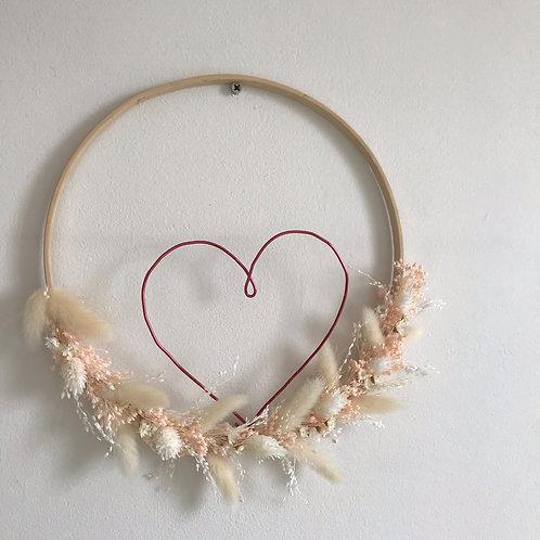 Cupidon - suspension cœur fleurs séchées