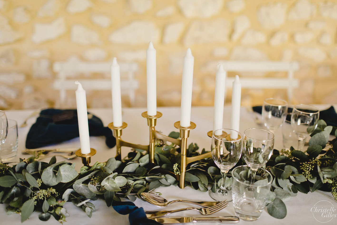 Guirlande eucalyptus table d'honneur han