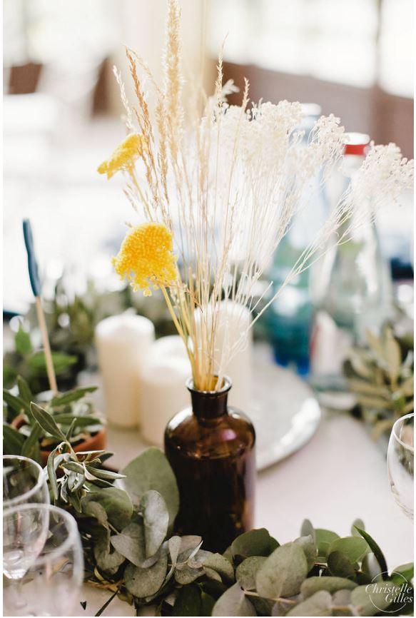 Centre de table fleurs séchées