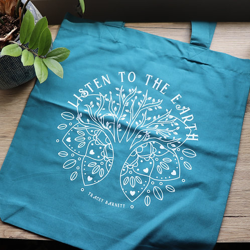 'Listen to the Earth' Sea Green Tote