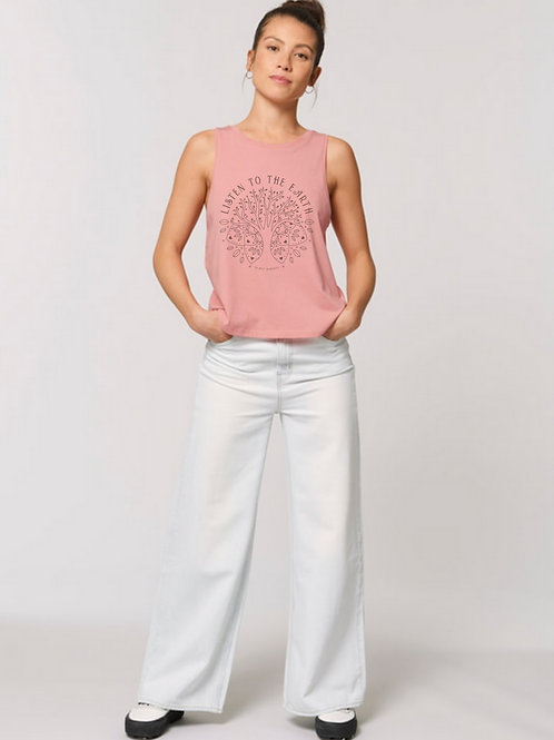 'Listen to the Earth' Women's Organic Cotton Cropped Singlet
