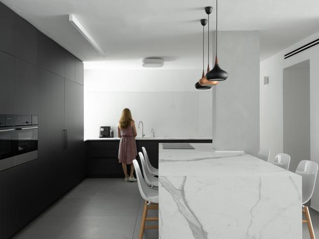 """תכנון ועיצוב חלל מרכזי בדירה בלב ת""""א// זוג +3 //2019"""