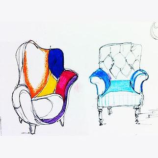 צבע הכורסא , הצורה , החומר וסוג הבד כל א