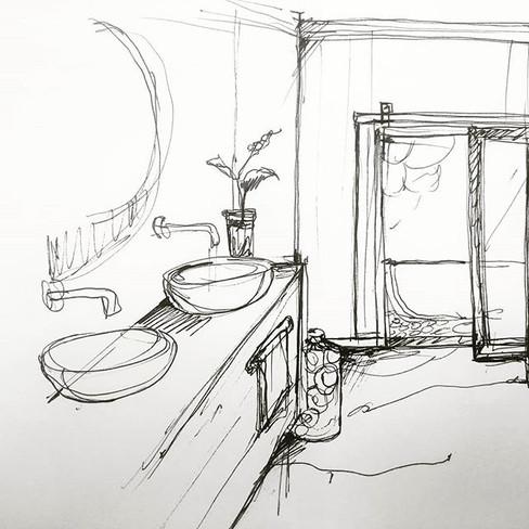 סקיצה של חדר רחצה . . . . . . . #bathroo