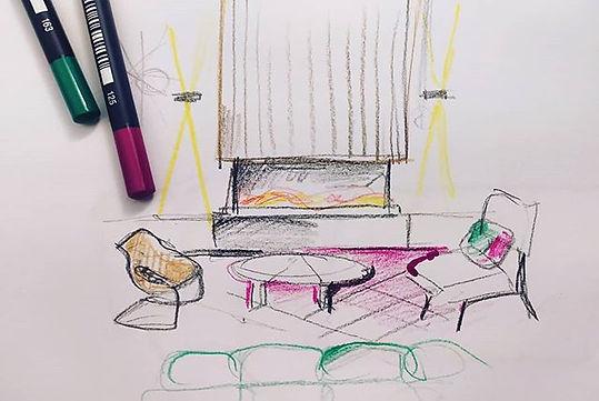 סקיצות בתכנון  אזור ישיבה . . . .  #hote