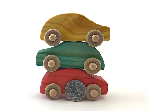Small Wooden Cars- 3 Pack