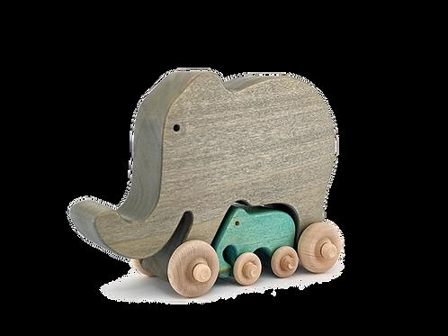 Wooden Elephant Push toy with baby elephant