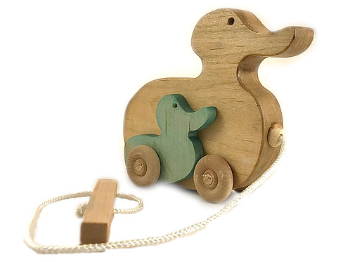 Duck and blue duckling pull toy