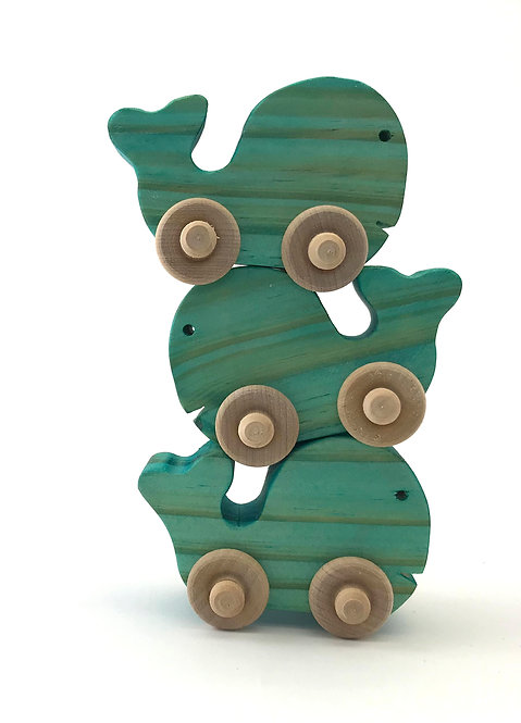 Small Wooden Whales- 3 Pack (blue)
