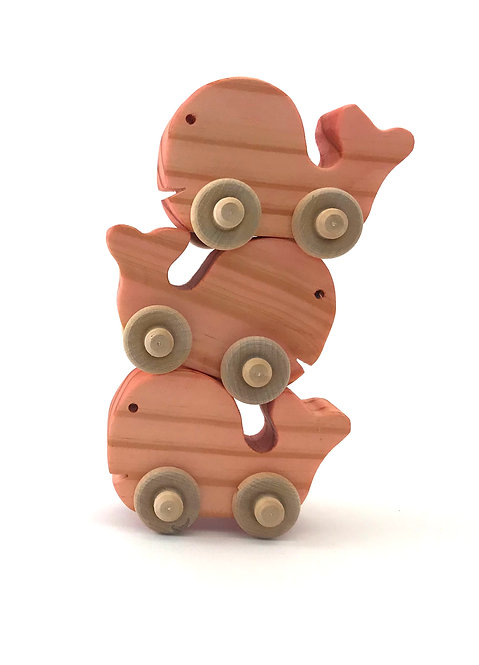 Small Wooden Whales- 3 Pack (Pink)