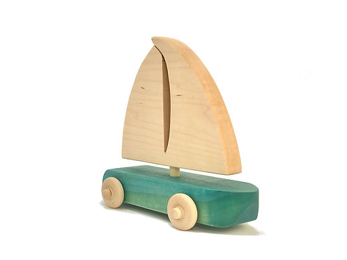 Blue Wooden Sailboat