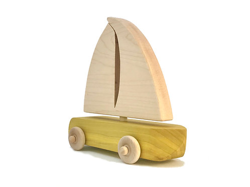 Yellow Wooden Sailboat