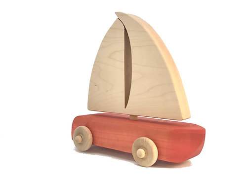 Red Wooden Sailboat