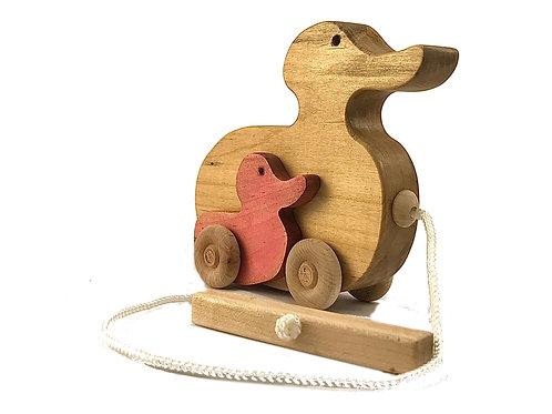 Duck and pink duckling pull toy