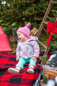baby girl laughing during photo session