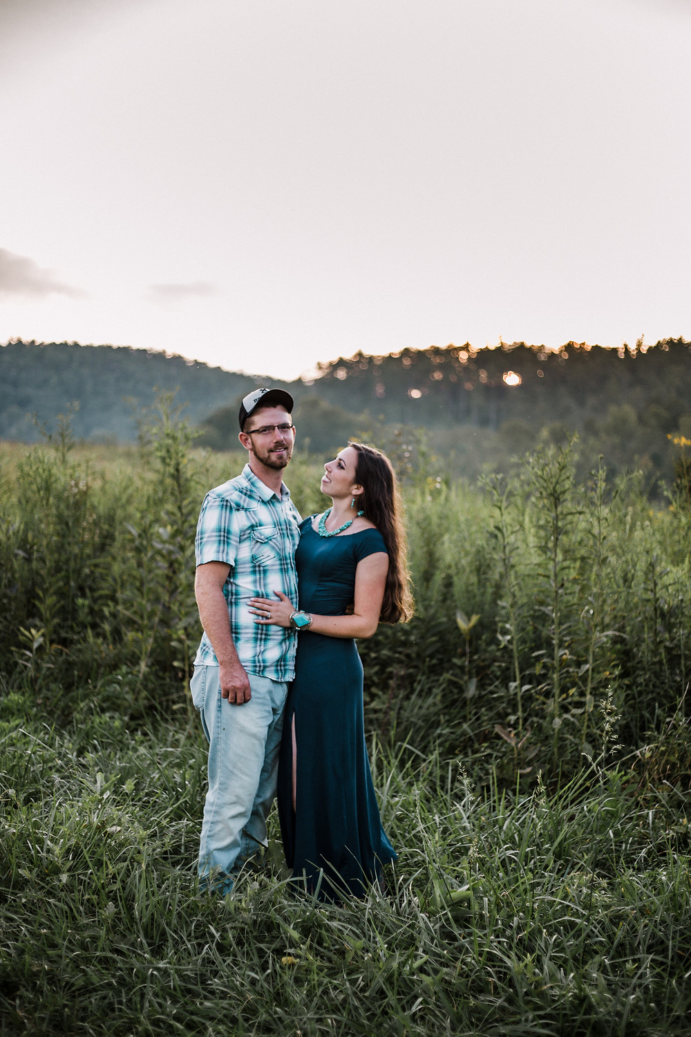 loving couple dressed in teal