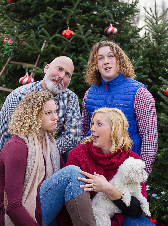 funny faces at Christmas tree farm