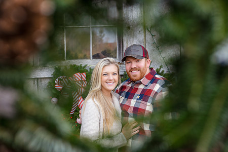 looking through a Christmas wreath