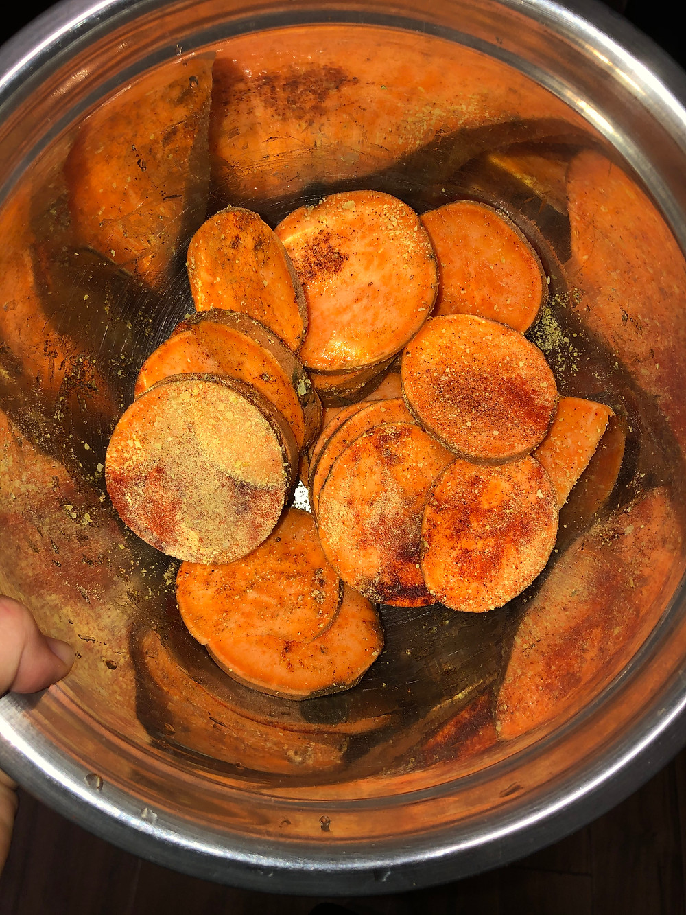 chopped up sweet potatoes