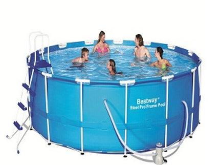 Каркасный бассейн, 457х122 см, 16015 л.,фильтр-насос 3028л/ч, тент, лестница