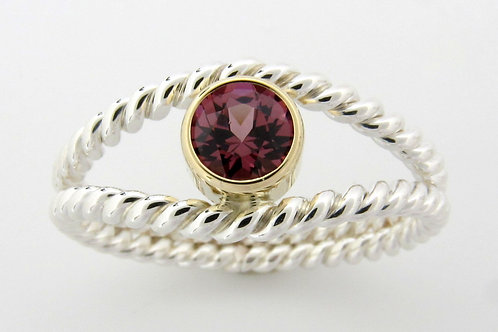 Sterling Silver & 14K Yellow Gold with Garnet Ring